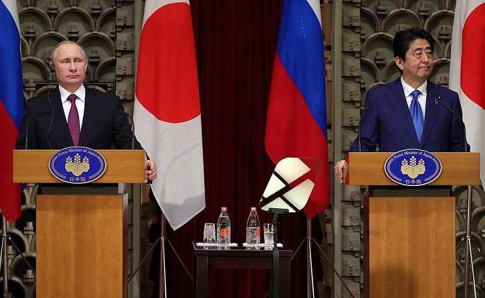 Gambar Kaisar Jepang dan Presiden Rusia