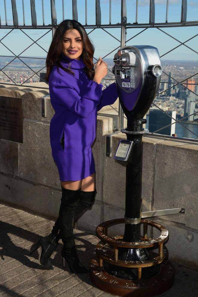 Priyanka Chopra In Blue Dress At Empire State Building