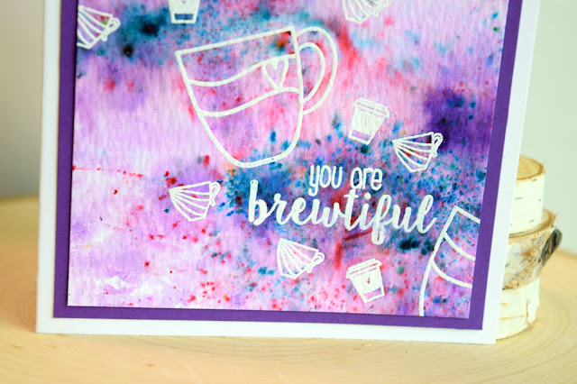 Color Burst Coffee Card by Jess Crafts featuring Create a Smile Stamps