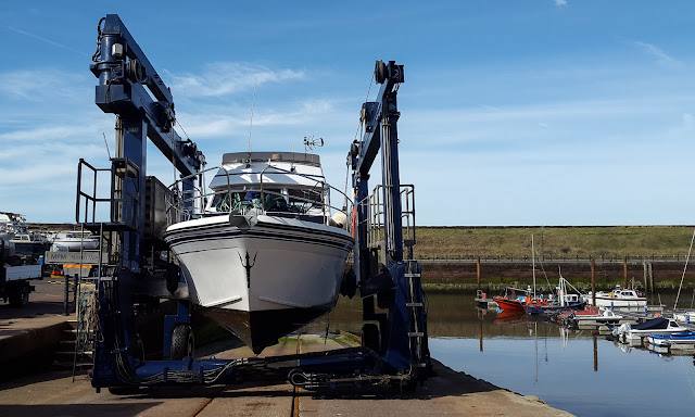 Photo of Ravensdale in the hoist when she was lifted out of the water