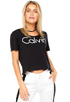 Moda Blusa Calvin Klein Jeans Recortes Preta