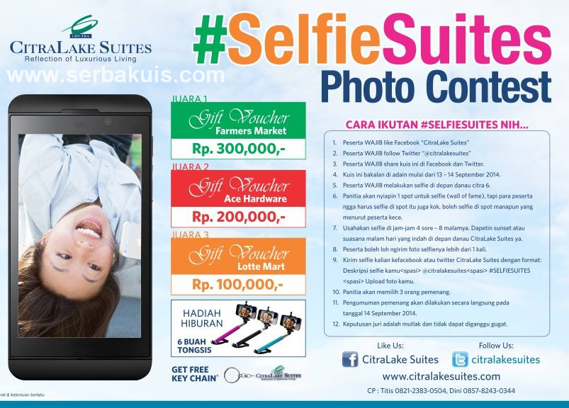 Kontes Selfie Suites Berhadiah 3 Gift Voucher & 6 Tongsis