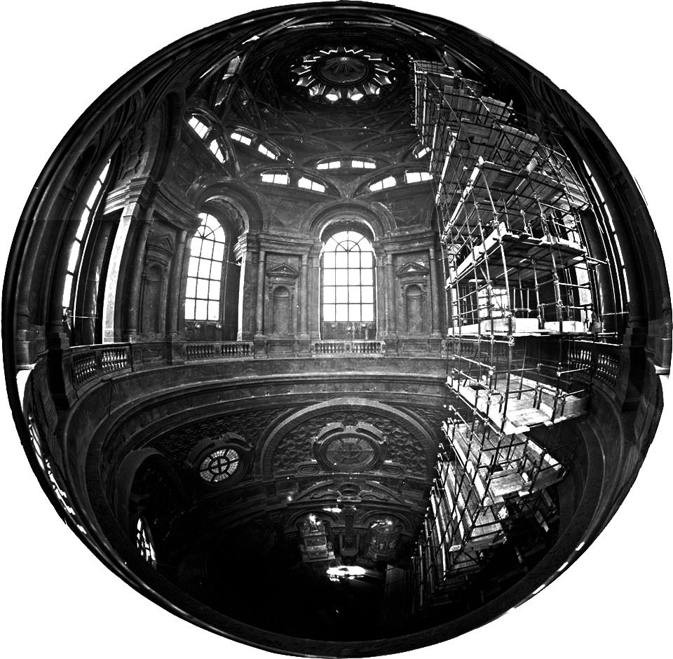 Cappella della Sindone, Torino. Fotocamera 4X5 autocostruita con fish-eye Zodiak 30mm - Fotografia di Giorgio Jano