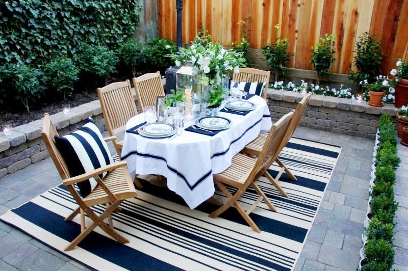 The Magnolia Tree: Navy Blue and White Striped Floor Rug