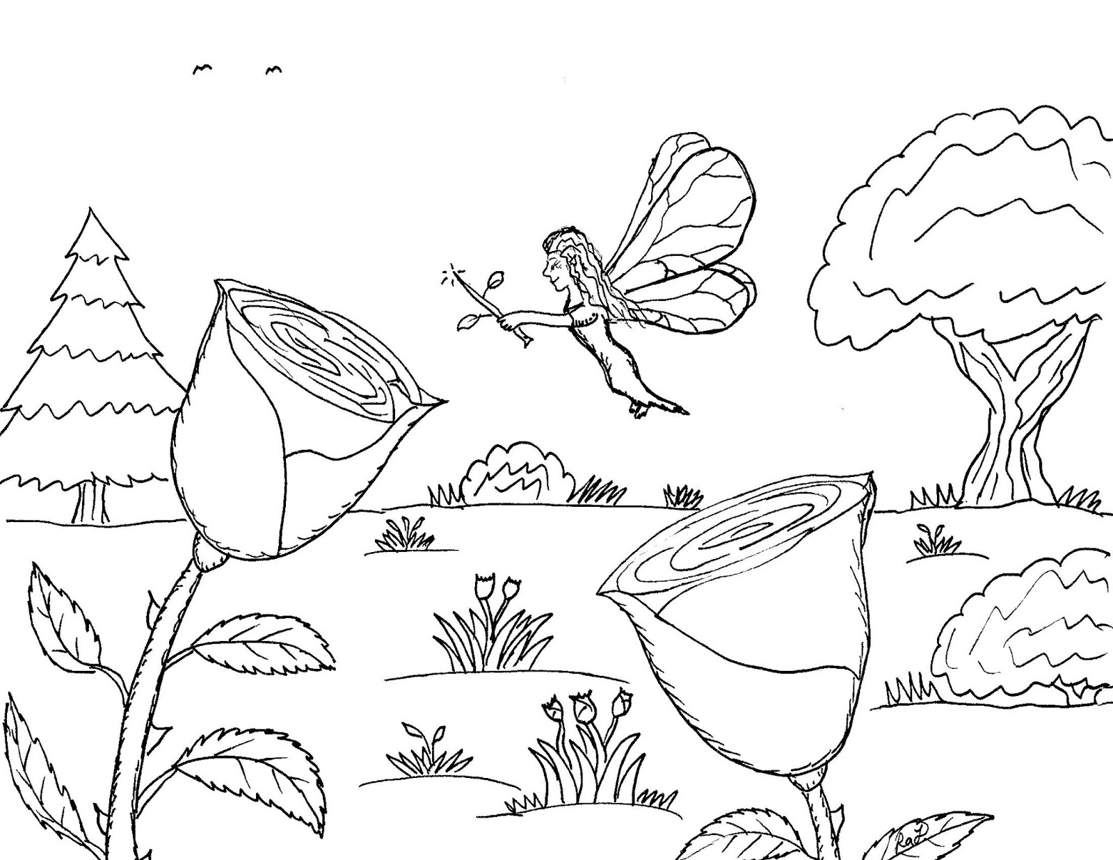 Robin\'s Great Coloring Pages: Flower Fairy at Work