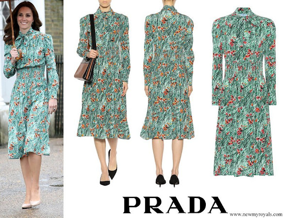 Kate Middleton wore PRADA Printed silk dress
