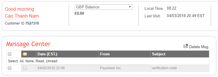 Hướng dẫn sáp nhập 2 tài khoản Payoneer