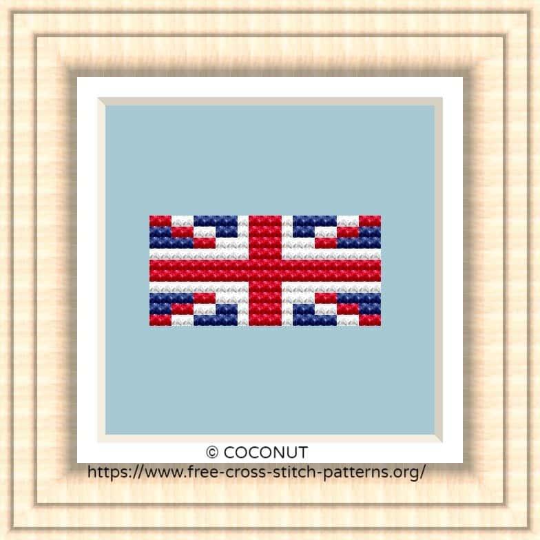 NATIONAL FLAG OF UNITED KINGDOM CROSS STITCH CHART