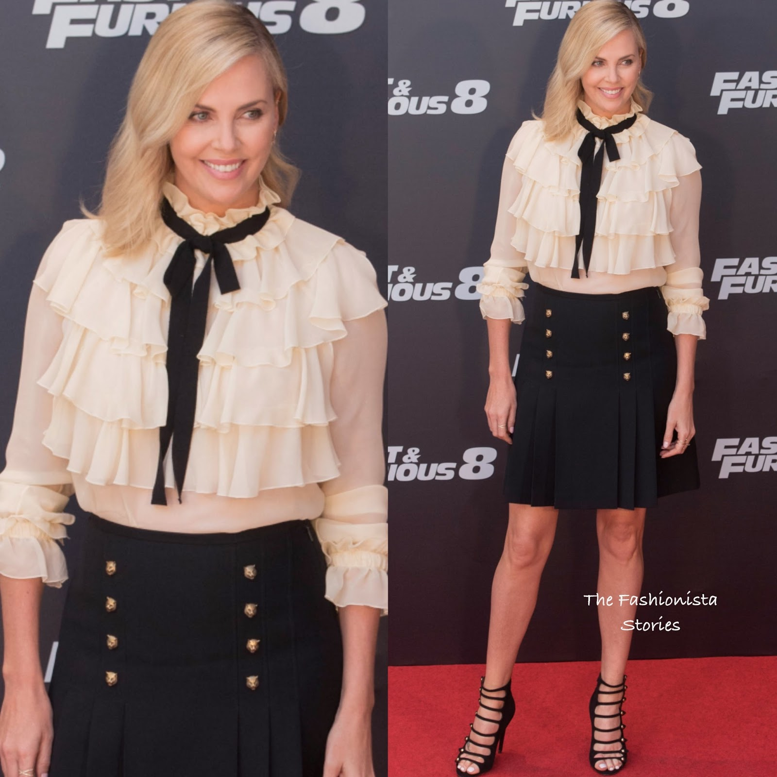 ce9b44c21 Charlize Theron in Gucci at 'The Fate of the Furious' Madrid Photocall
