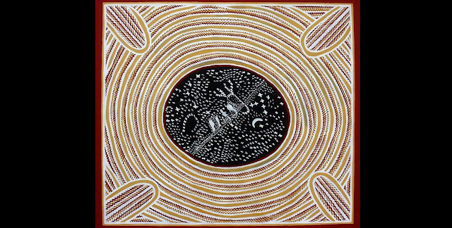 Star map painting by Senior Wardaman Elder Bill Yidumduma Harney, featuring the Milky Way, the Moon, and ancestor spirits.  Credit:  Bill Yidumduma Harney