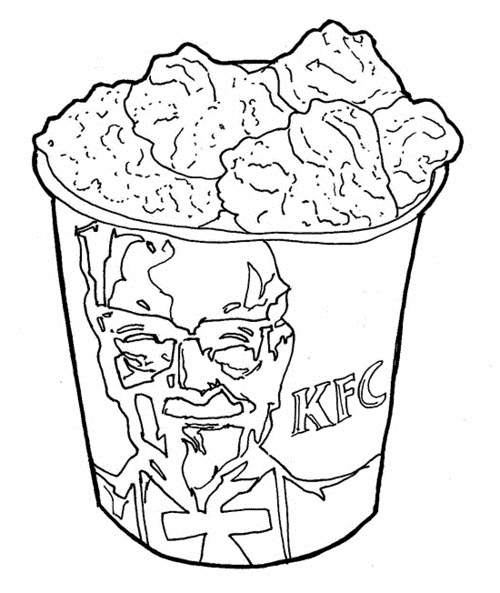 Kfc Kentucky Fried Chicken Bucket Sketch Coloring Page