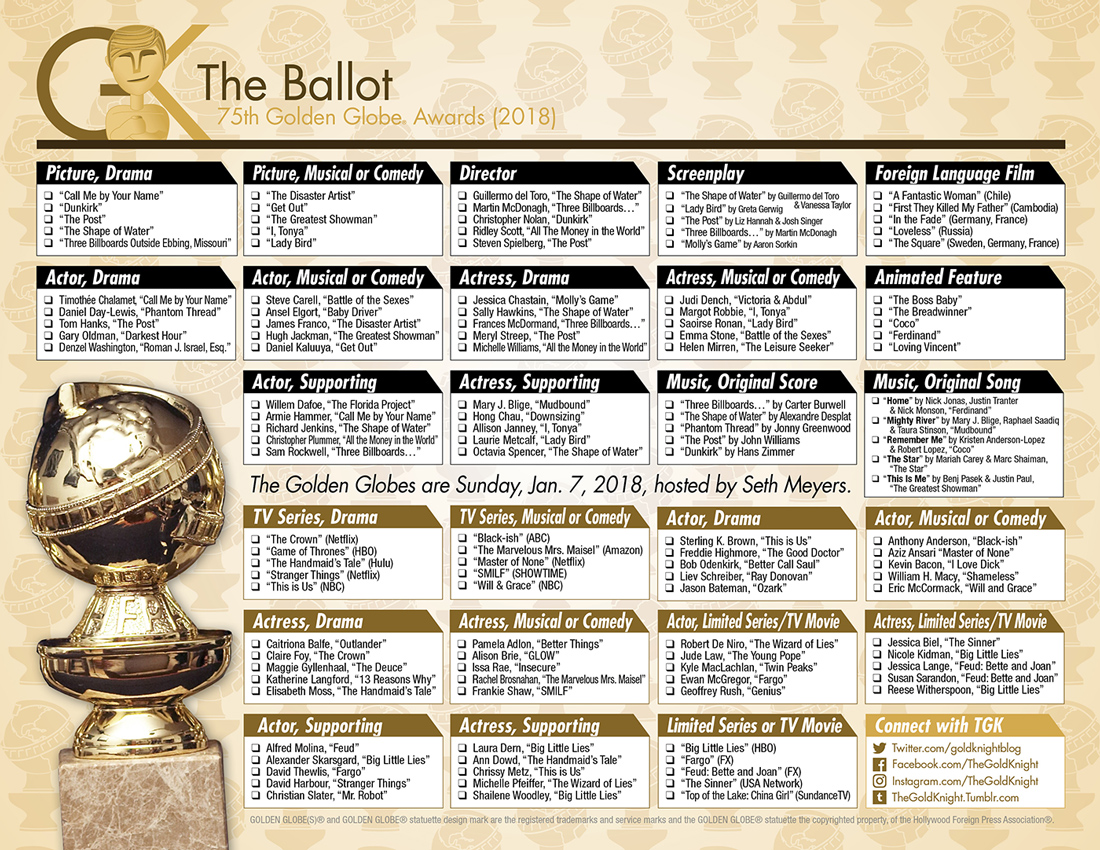 photograph relating to Golden Globe Ballot Printable known as 2018 Golden Entire world Awards printable ballot The Gold Knight