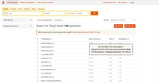 imagem do écran da página onde se pesquisa as perguntas mais frequentes de dada palavra