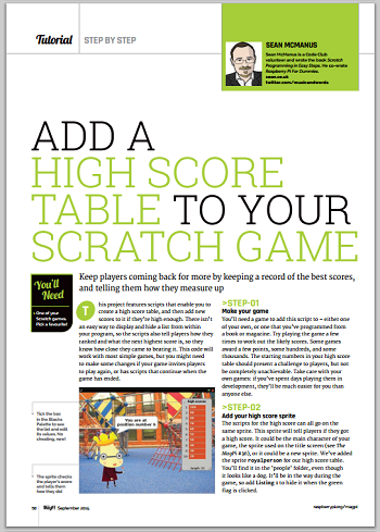magazine page showing my high score article