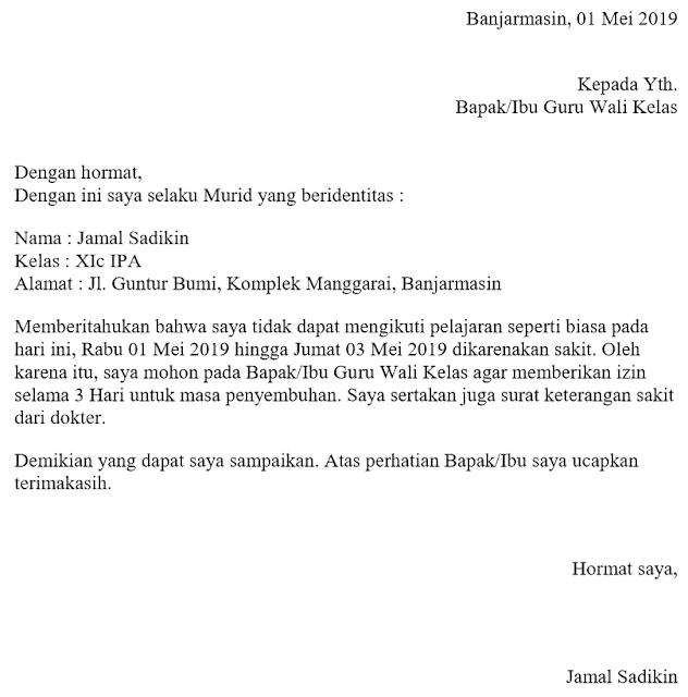Contoh Surat Izin Sakit Tidak Masuk Kelas / Sekolah