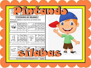 Atividades de alfabetização pintando sílabas