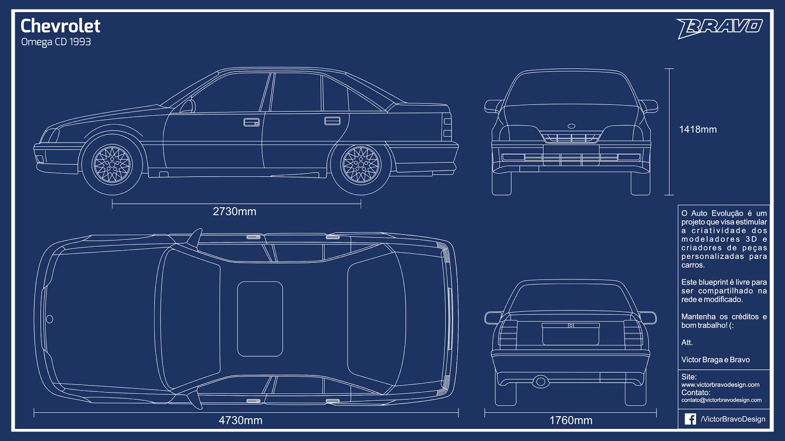 Imagem do blueprint do Chevrolet Omega CD 1993