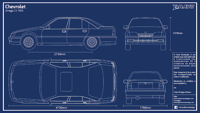 Imagem do blueprint do Chevrolet Omega CD 1993