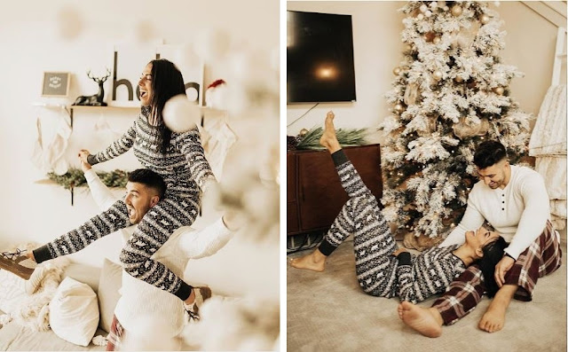 Christmasy, warm, cosy couple in christmasy pyjamas photoshoot by Kierstin Jones.