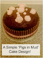 Chocolate cake with pink royal icing pigs on top.