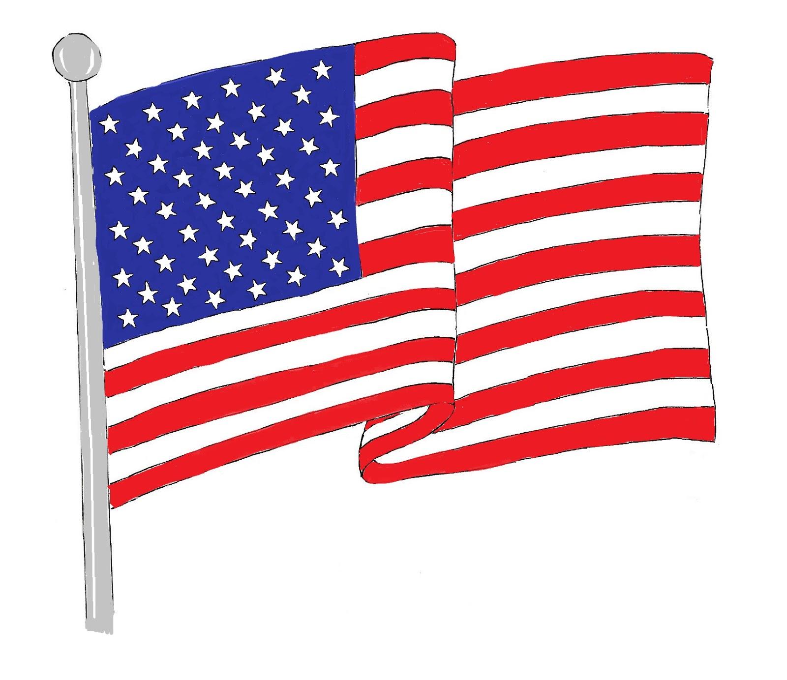 Waving American Flag Art Class Ideas