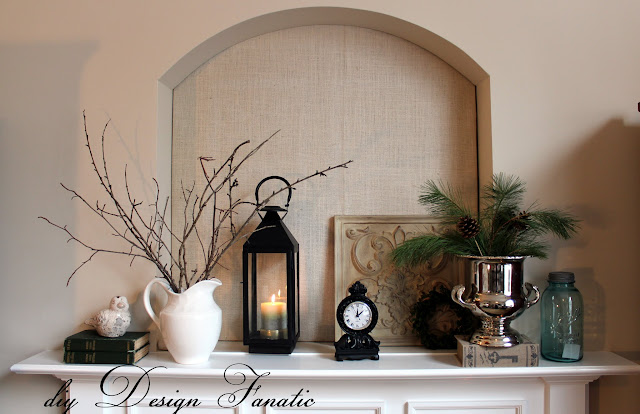 winter decorating, winter mantel, farmhouse style, cottage style