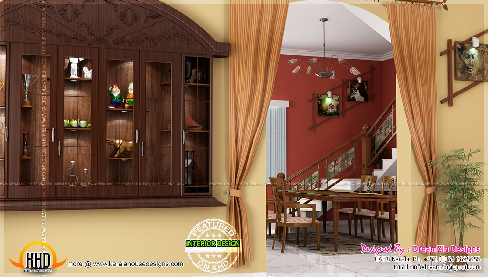 Kitchen interior dining area design home kerala plans for Wall showcase designs for living room indian style