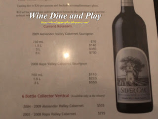 The tasting notes for the Silver Oak Alexander Valley Cabernet