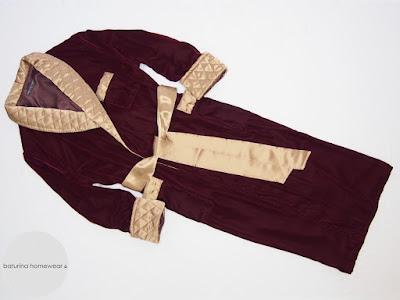 gentleman velvet silk dressing gown deep red gold quilted collar dandy robe classic elegant