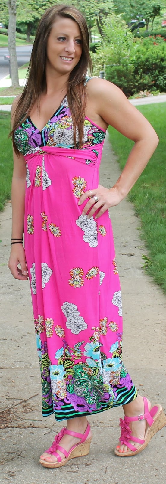 summer dress, outfit, fashion, get dressed, pink dress, pink wedges