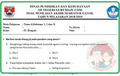 Soal UAS / PAS Kelas 4 Tema 4 K13 Revisi 2018