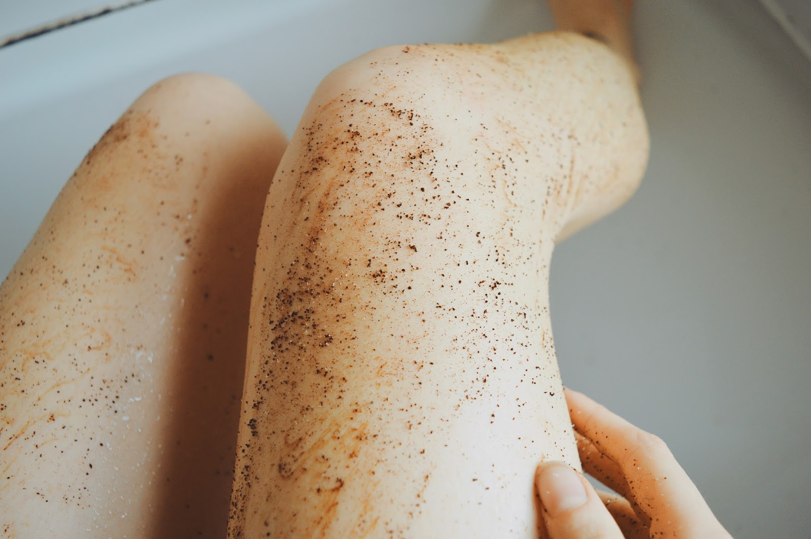 coffee body scrub on legs