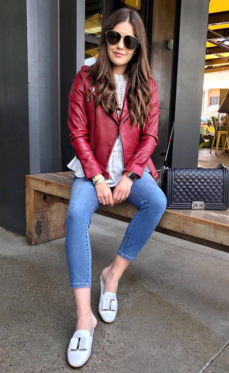 how to wear a red leather jacket : skinny jeans + top + white loafers