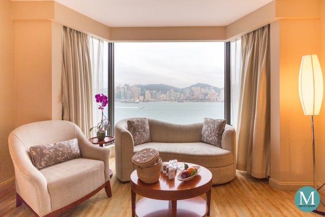 Room with view of Victoria Harbour at Kowloon Shangri-La Hong Kong