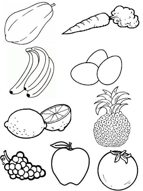 Selección de dibujos para colorear: frutas y vegetales