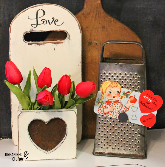 Cutting Board Valentine's Day Display Box organizedclutter.net