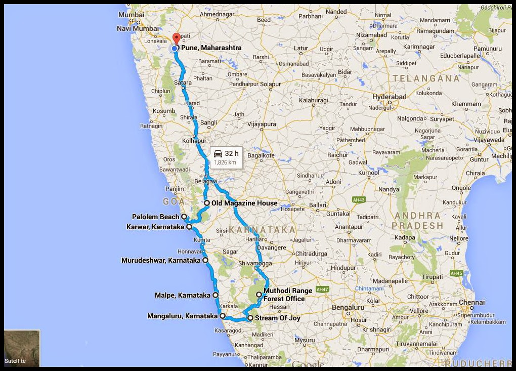 Karnataka Road trip Map