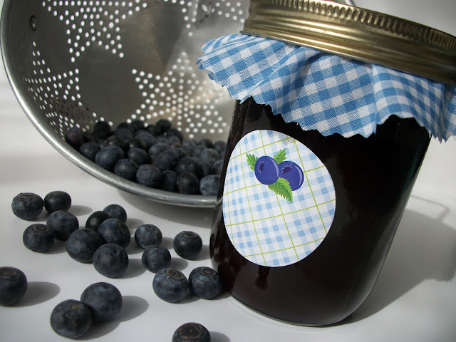 Plaid Blueberry canning jar labels