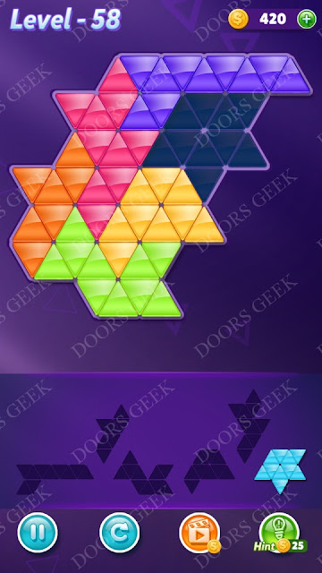 Block! Triangle Puzzle Intermediate Level 58 Solution, Cheats, Walkthrough for Android, iPhone, iPad and iPod