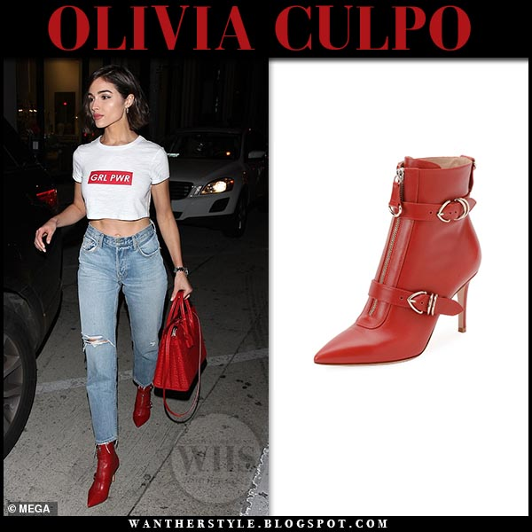 1a29ff1446b Olivia Culpo in red leather ankle boots and white crop top in LA on ...
