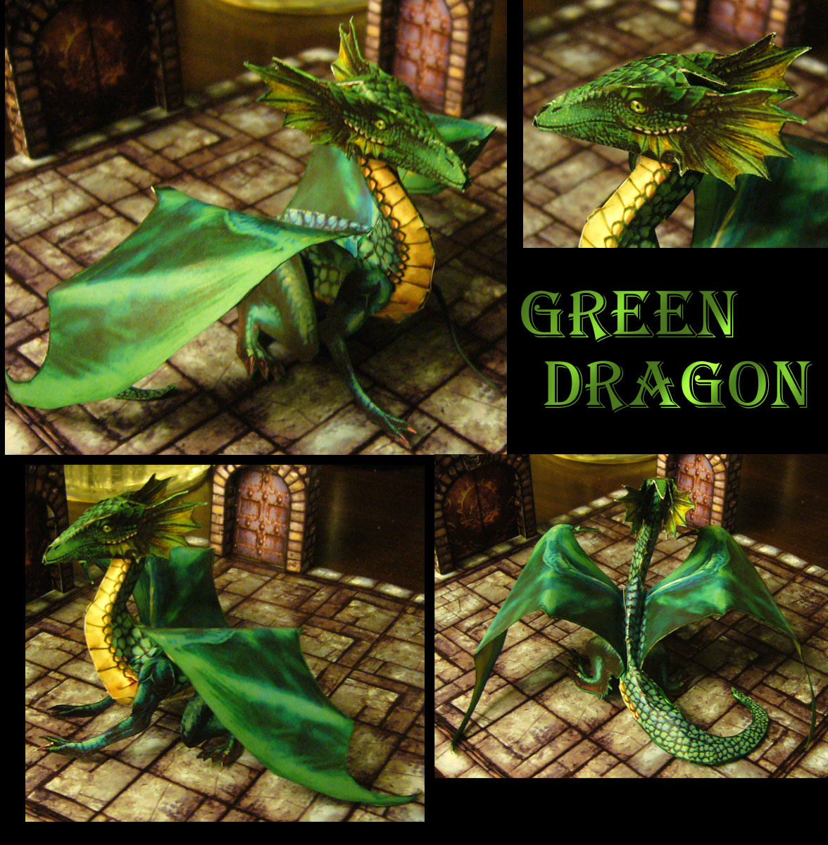 Fantasy RPG Green Dragon Papercraft