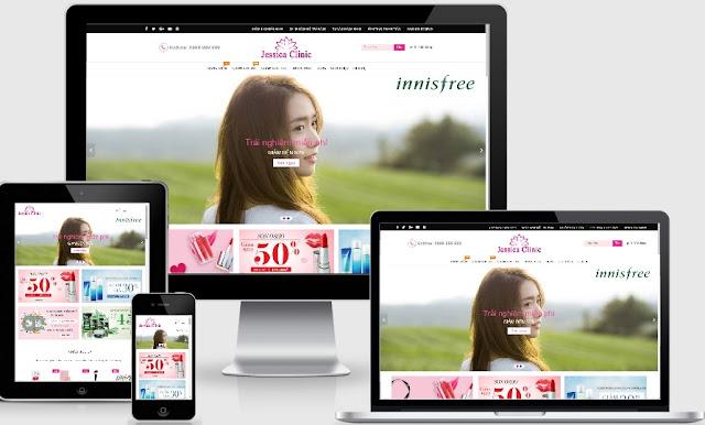 Template blogspot bán mỹ phẩm đẹp mới 2018