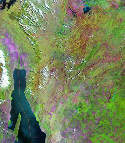 Gambar Peta wilayah negara Burundi tampak dari satelit