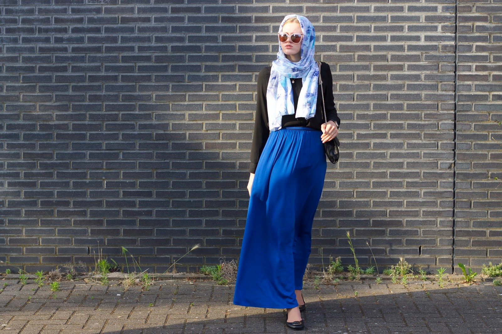 Floral Hijab and blue maxi skirt
