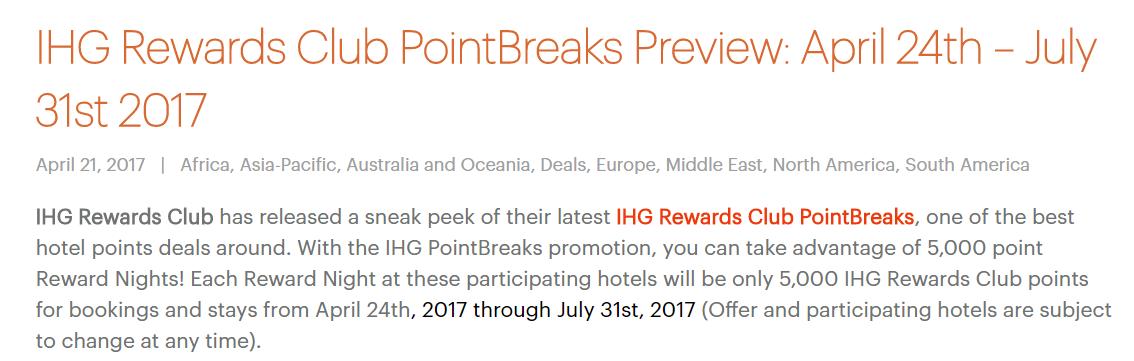 Canadian Rewards: IHG Rewards Club PointBreaks (released Apr