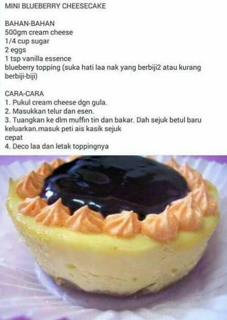 resepi kek mini blueberry cheese