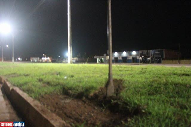 Guarda impede furto de grama no centro de Nova Mamoré