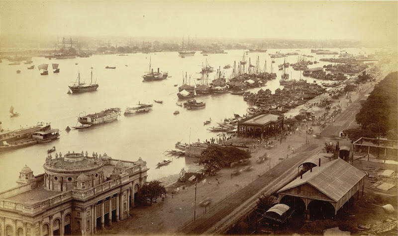 View of Shipping Vessels and Ghats on the River Hooghly, Calcutta (Kolkata) 1885