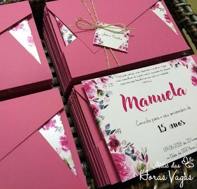 convite artesanal personalizado aniversário 15 anos sofisticado delicado moderno estampa floral aquarelado rosa pink casamento