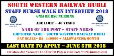 South Western Railway Hubli Staff Nurse Walk In Interview 2018